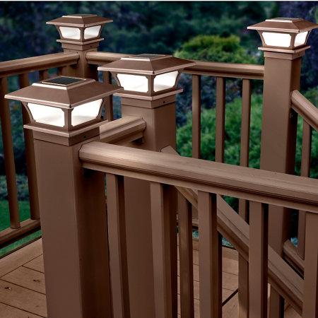 solar post cap lights set of 2 brown improvements catalog. Black Bedroom Furniture Sets. Home Design Ideas