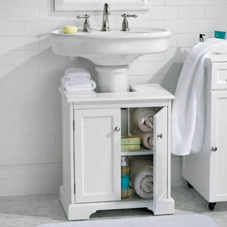 Pedestal Sink Cabinet : Weatherby Bathroom Pedestal Sink Storage Cabinet - Improvements ...