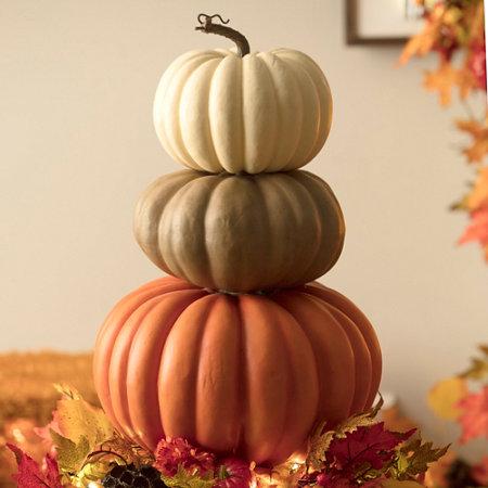 Stacked faux pumpkins fall decor improvements catalog for Fall pumpkin decorating ideas