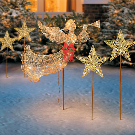 Lighted flying angel with trumpet christmas decoration for Angel of the north christmas decoration