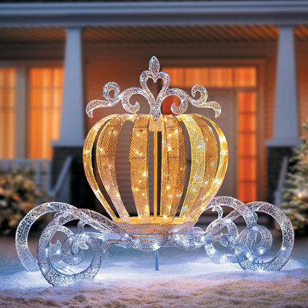 Lighted princess carriage outdoor christmas decoration for Outdoor lighted christmas ornaments
