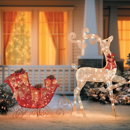 Glittering Reindeer Sleigh Lighted Outdoor Christmas Decoration