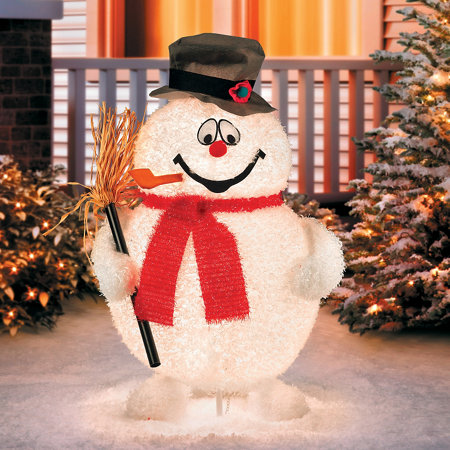 Lighted frosty the snowman outdoor christmas decoration for Abominable snowman outdoor decoration