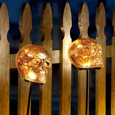 lighted skull yard stakes outdoor halloween decoration