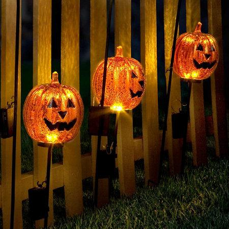 lighted pumpkin yard stakes outdoor halloween decoration - Halloween Pathway Lights