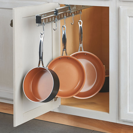 Pull out pots and pans cabinet organizer improvements catalog - Cabinet pull out pot rack ...