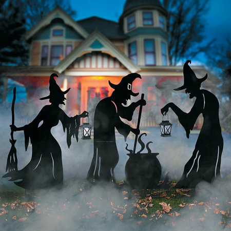 witches cauldron silhouette outdoor halloween decoration