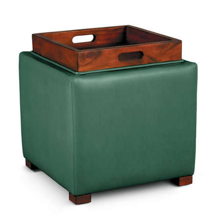 faux leather storage ottoman with tray improvements catalog