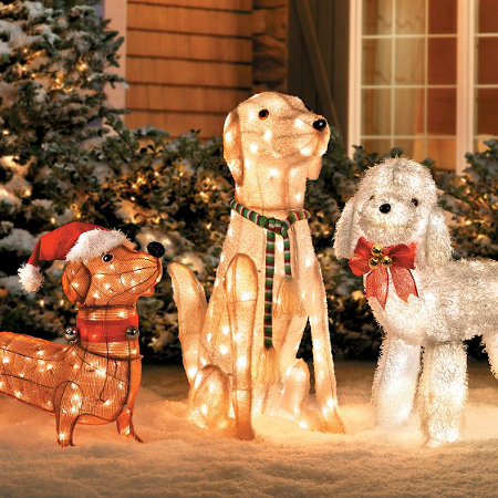 christmas decorations already - Outdoor Lighted Dog Christmas Decorations