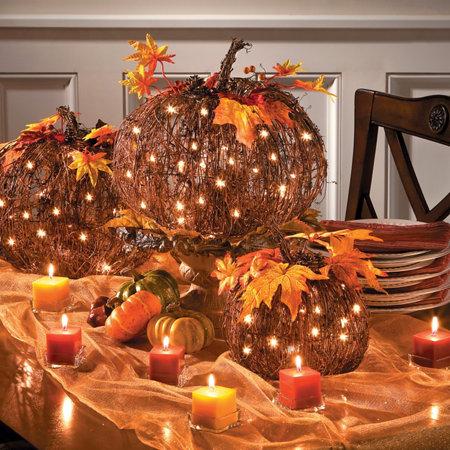 Pre lit grapevine pumpkin fall decoration improvements catalog - Thanksgiving decorations on sale ...