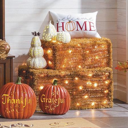 Lighted faux hay bale halloween decorations improvements catalog - Faux oiseaux decoration ...