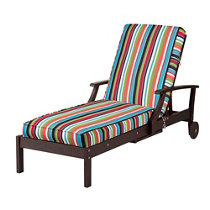 Sunbrella outdoor cushions milano cobalt stripe for Box edge chaise cushion