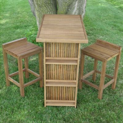 3 Piece Wooden Outdoor Bar Set