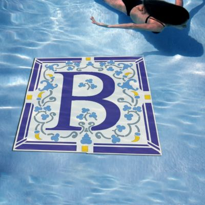 Square Monogram Pool Art
