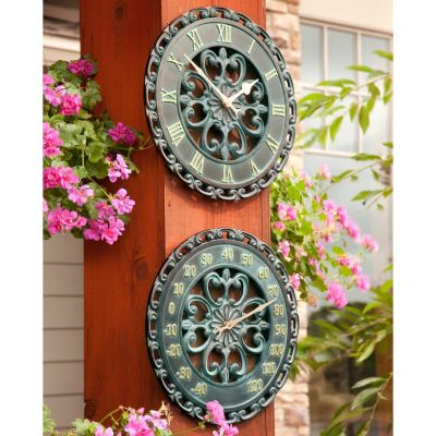 "14"" Copper Verdigris Outdoor Clock & Thermometer"