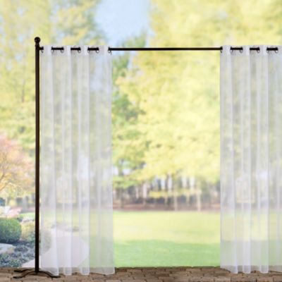 Grommet-Top Voile Outdoor Curtain Panels-White