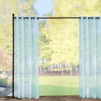 Grommet-Top Voile Outdoor Curtain Panels-Sky Blue