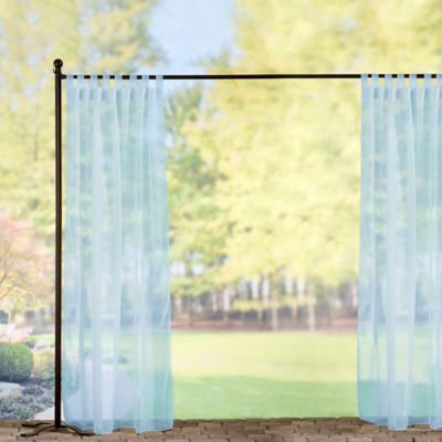 Tab-Top Sheer Voile Outdoor Curtain Panels-Sky Blue