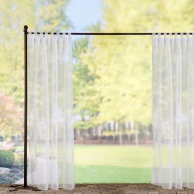 Tab-Top Sheer Voile Outdoor Curtain Panels-White