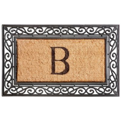 Monogram Coir/Rubber Scroll Border Doormat