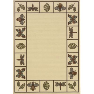 Insect and Leaves Border Outdoor Rugs