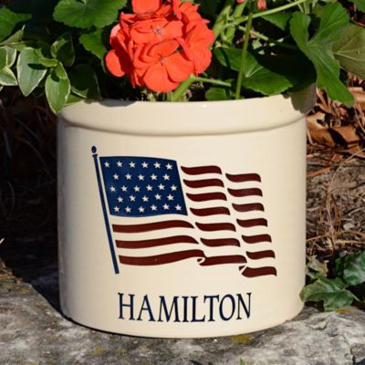 Personalized American Heritage Flag Crock