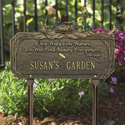 Personalized Dragonfly Lily Quote Garden Sign