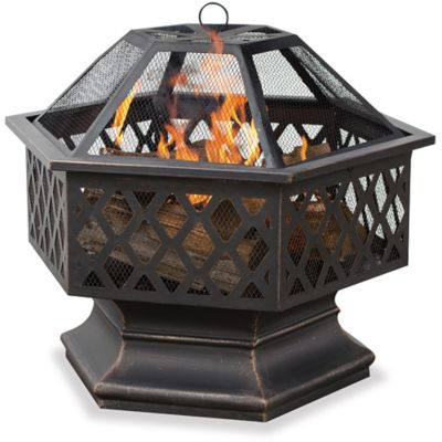 Hexagonal Outdoor Fire Bowl with Lattice Design
