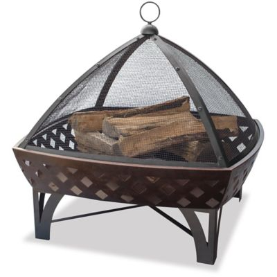Fire Bowl with Lattice & Tri Shaped Cover