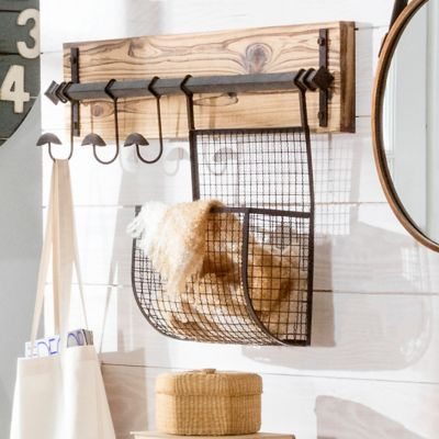 Wall Mount Basket Coat Rack