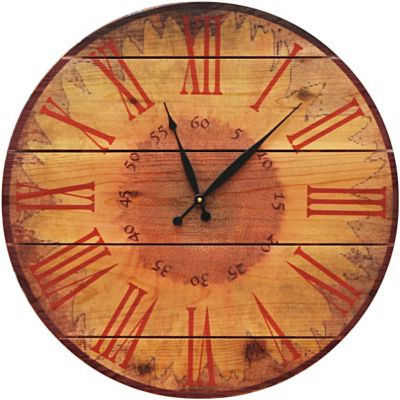 Warm Sunflower Cedar Wall Clock