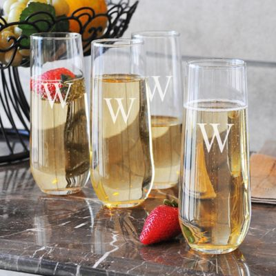 Personalized Stemless Champagne Flutes-Set of 4