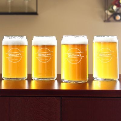 Personalized Home Brew Can-Shaped Glasses-Set of 4