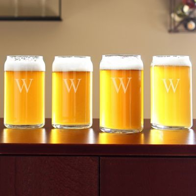 Personalized Craft Brew Can-Shaped Glasses-Set of 4