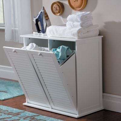 Cape Cod Louvered Double Hamper Cabinet