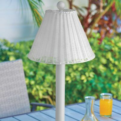 Umbrella Table Lamp-White Base with White Resin Wicker