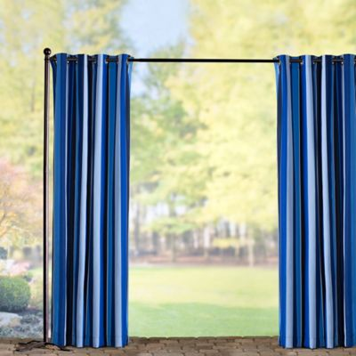 Sunbrella Outdoor Curtain Panel-Milano Cobalt Stripe