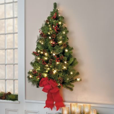 Classic Christmas Pre-Lit Wall Tree-3'