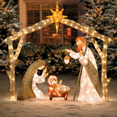 Glittering Tinsel Nativity Christmas Decor
