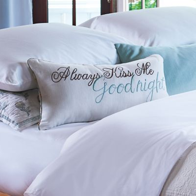 Always Kiss Me Goodnight Embroidered Throw Pillow