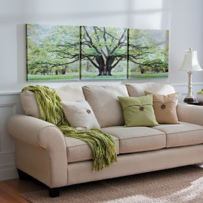 Savannah Oak Tree Triptych Canvas Print-Set of 3