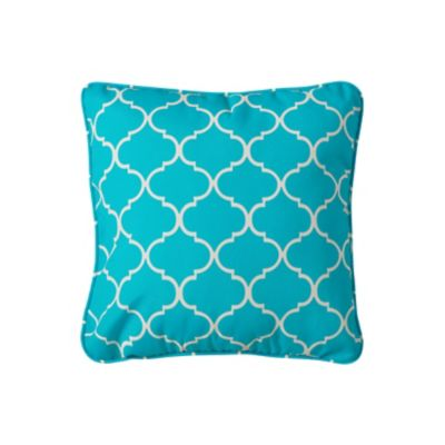 "15'' Throw Pillow 15""x15""x6"" - Madeira Blue Print"