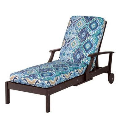"Chaise Cushion-Box Edge 72""x21""x3-1/2"" - Sea Mist Medallion"