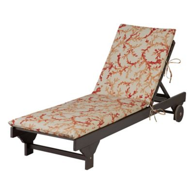 "Chaise Cushion-Knife Edge 72""x21-1/2""x2-1/2"" - Sea Coral Print"