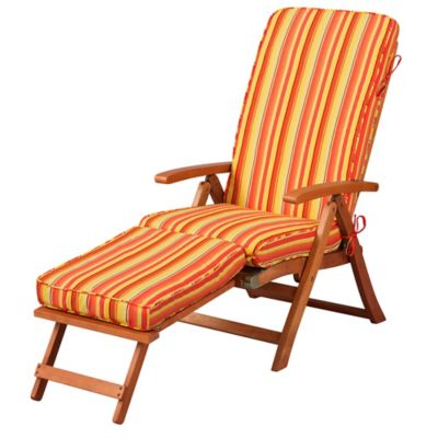 "Steamer Chair Cushion 72""x19""x3"" - Valencia Orange Stripe"