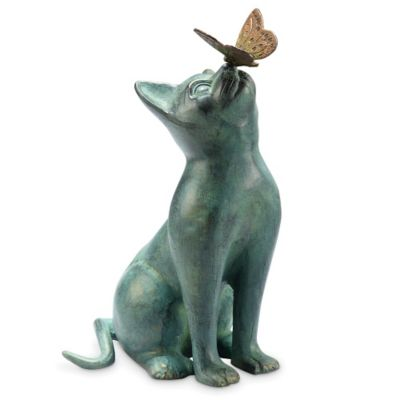 Playful Cat and Butterfly Garden Sculpture