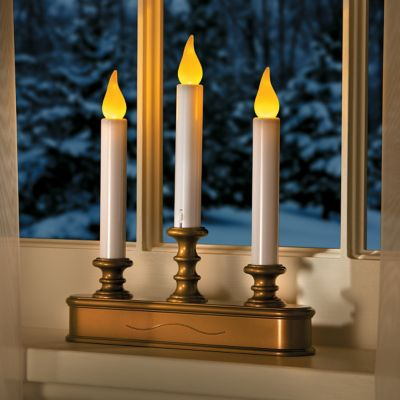 Battery Operated LED Triple Window Candles