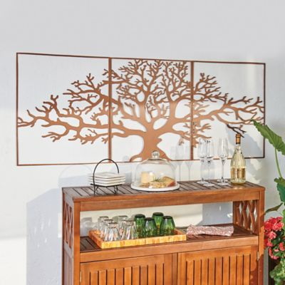 3 Pc Oak Tree Metal Wall Decor