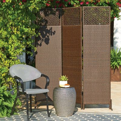 Nouvelle 3-Panel Resin Wicker Privacy Screen
