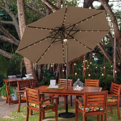 9' Double Top Solar Lighted Umbrella